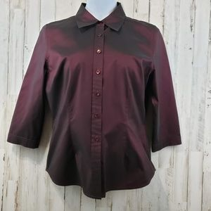 Classiques Entier Womens Top Red Burgundy Collared
